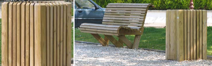 Mobilier urbain en bois mobilier ext rieur rondino for Mobilier en bois